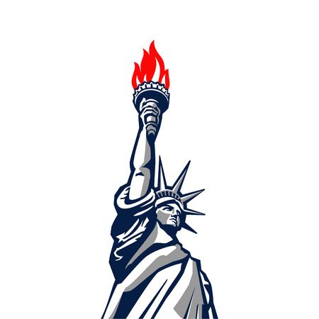 자유 동상 기념물 벡터 실루엣입니다. 미국 뉴욕 애국 기호 컬러 디자인 요소