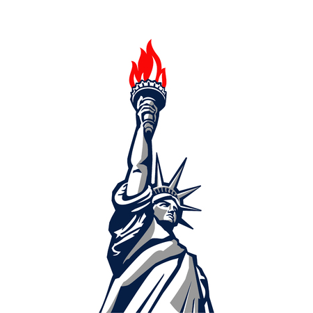 Liberty statue monument vector silhouette.  USA New York Patriotic symbol color design element Ilustração