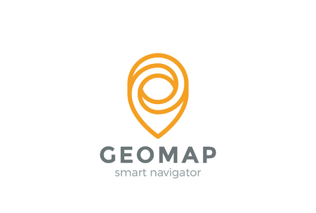 geotag: Geo Map Point Location design vector Linear style. Pin symbol City locator template.  Gps infinite navigation icon