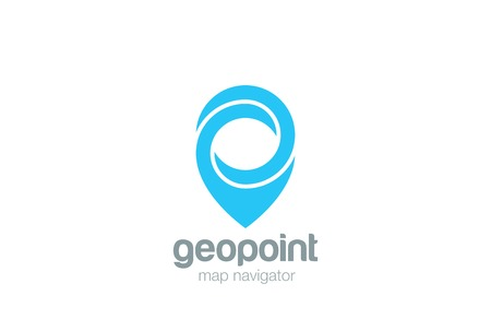 Geo Map Point Location Logo design vector. Pin symbol City locator template.   Gps infinite navigation logotype icon Иллюстрация
