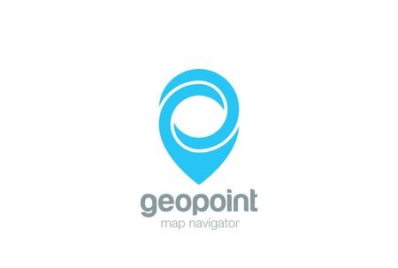 Geo Map Point Location Logo projeto vector. Símbolo de PIN Modelo de localizador de cidade. Ícone de logotipo de navegação infinita GPS