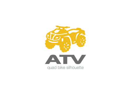 ATV Logo design vector silhouette template.  Quad bike Logotype concept icon.