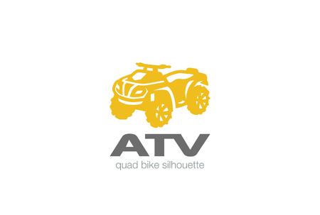 ATV Logo design vector silhouette template.  Quad bike Logotype concept icon.