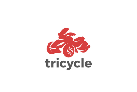 dirt bike: Tricycle Logo design vector silhouette template.  Motorbike bike Logotype concept icon. Illustration