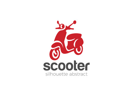 스쿠터 로고 디자인 실루엣 벡터 템플릿. 오토바이 상점 상점 로고 타입 개념 아이콘