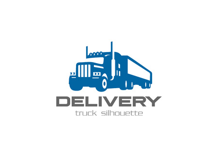 lorry: Cargo Delivery Truck Logo design vector template Negative space style.  Shipping Logistic Heavy lorry car silhouette Logotype concept icon