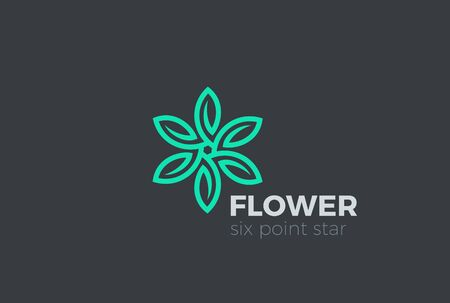 flower leaf: Green Leaves Star Flower Logo design Infinity loop vector template. Eco Natural Organic Logotype concept icon