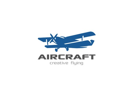 Vintage flying Airplane Logo design vector template Negative space style.  Retro aircraft Logotype aviation concept icon Illustration