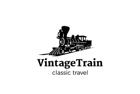Silueta del tren de la vendimia Diseño del logotipo plantilla del vector Estilo negativo del espacio. Transporte clásico del ferrocarril Icono del concepto del logotipo