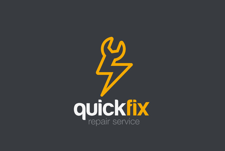 Quick Fix service Logo design vector template.  Spanner Wrench Thunder Lighting Bolt Fast rapid repair Logotype concept icon