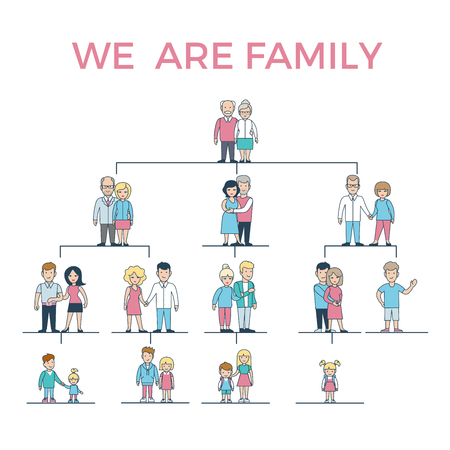 progeny: Linear Flat We Are Family vector illustration. Grandparents, parents, children connected with lines on white background. Genealogy concept.