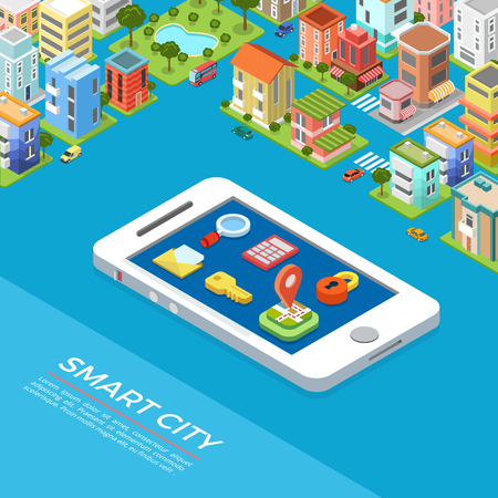 Flat isometric Smart city app, huge smartphone among buildings infographics template vector illustration. 3d isometry Mobile application concept. Geo location, calculator, mail, key, lock buttons.