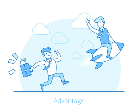 Flat successful businessman on rocket, angry competitor tries to catch web infographics vector illustration. Competitive advantage business and marketing concept.