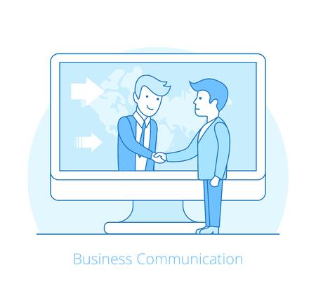 Linear Flat businessmen handshake over computer internet technology vector illustration. Business communications, globalization, teamwork concept.