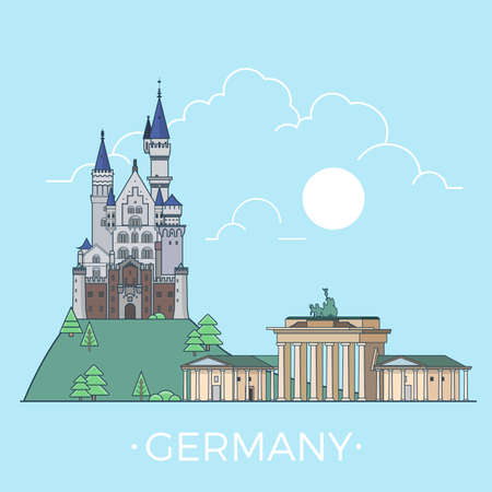 Germany country design template. Linear Flat famous historic sight; cartoon style web site vector illustration. World travel and showplace in Europe. European vacation collection. Illustration