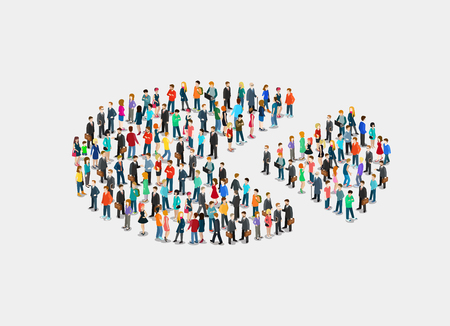 Flat isometric crowd of people forming silhouette of pie and separated piece vector illustration. 3d isometry Social Segment concept.