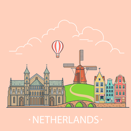 Netherlands country design template. Linear Flat famous historic sight; cartoon style web site vector illustration. World travel and showplaces in Europe. European vacation collection.