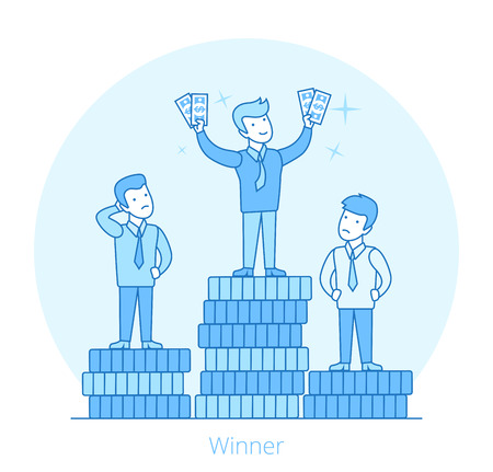 Linear Flat businessmen on top of coin stack pile pedestal vector illustration. Market competition Winner with money in hands. Success in business concept. Illustration