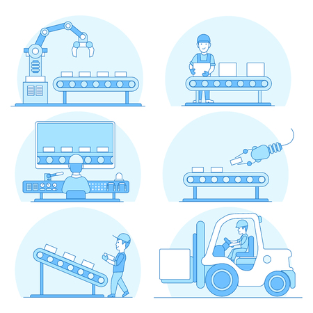 Linear Flat industrial manufacture conveyor and warehouse storage machines vector illustration set. Business production process concept. Packaging, transporting, managing in control center.