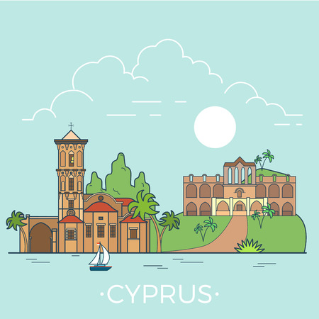 convent: Cyprus country design template. Linear Flat famous historic sight; cartoon style web site vector illustration. World travel and showplace in Europe, European vacation collection.