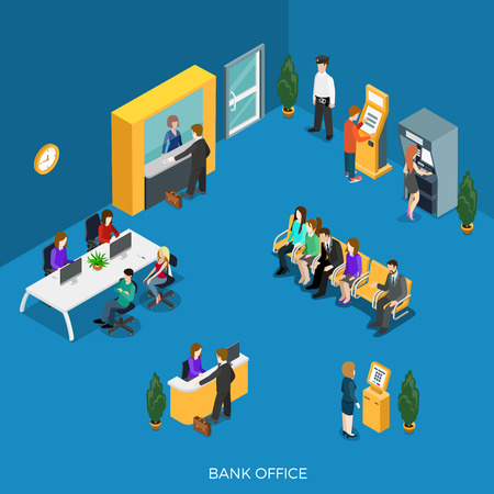 finance department: Flat isometric bank office with reception, cashdesk vector illustration. ATM, Registration and payment terminal, workers, clients and security characters. 3d isometry creative Banking concept. Illustration