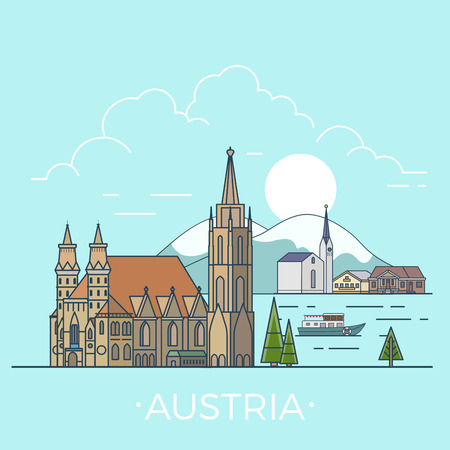 tirol: Austria country design template. Linear Flat famous historic sight; cartoon style web site vector illustration. World travel and showplace in Europe, European vacation collection.