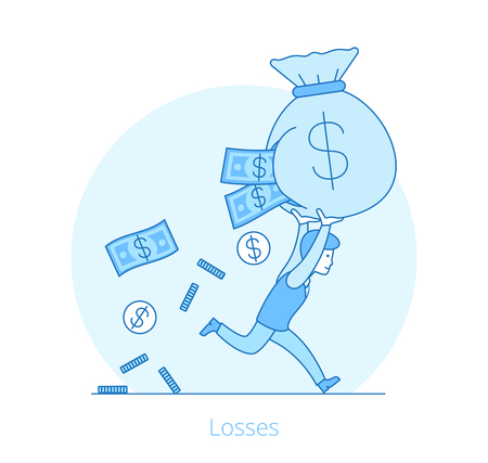 Linear Flat Businessman running with money bag, coins and banknote fall out vector illustration. Losses in business concept.