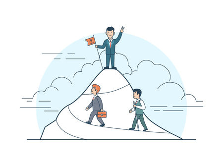 Linear Flat Happy businessman standing on mountain peak with flag in hand, two followers climbing up vector illustration. Achievement and success, business leadership concept.
