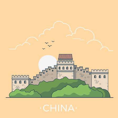 Great Wall of China country design template. Linear Flat famous historic sight; cartoon style web site vector illustration. World travel and showplace in Asia, Asian vacation collection. Ilustração
