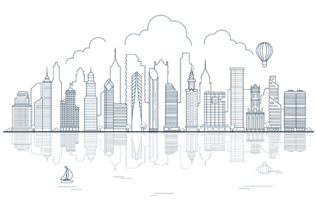 Line art Buildings, skyscrapers, business center, offices and houses on water and sky background vector illustration. Modern city, Urban life concept. Illustration