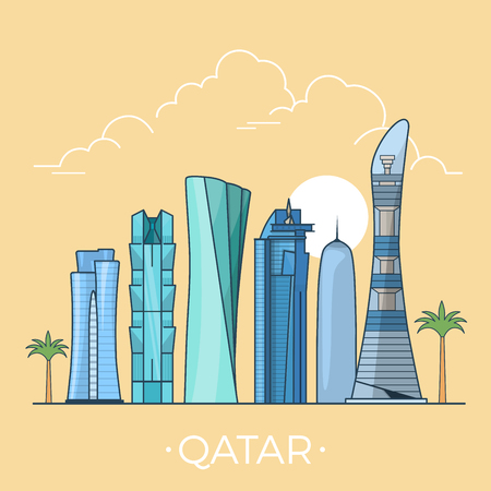 asia style: Qatar country design template. Linear Flat famous historic sight; cartoon style web site vector illustration. World travel and showplace in Asia, Asian vacation collection.