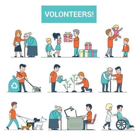 장애인 사람들을 돕는 선형 평면 젊은 자원 봉사자 벡터 일러스트 레이 션 설정합니다. 산책, 보육, 현재 배달, 흰색 배경에 고립 된 지원 이미지 개. 자