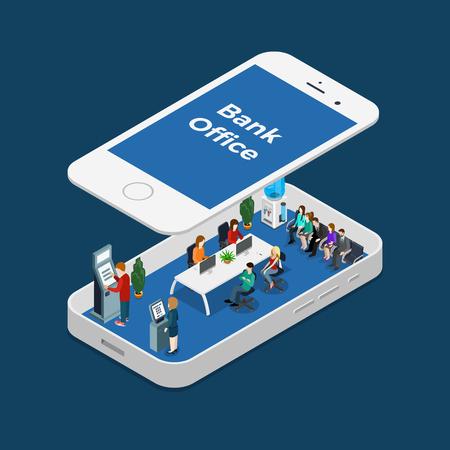 Interior isométrico de la oficina del banco con los encargados y los clientes dentro del smartphone, bajo la ilustración del vector del panel de la pantalla. 3d isometry Banca en línea concepto de negocio.