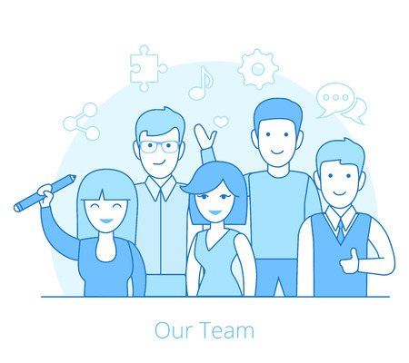 young business man: Linear Flat Team of young man and woman vector illustration. Business Teamwork concept.