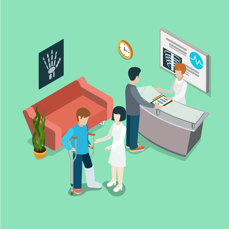 Flat isometric clinic interior with medical staff and patients, man on crutches vector illustration. 3d isometry Health care and medicine concept. Illustration