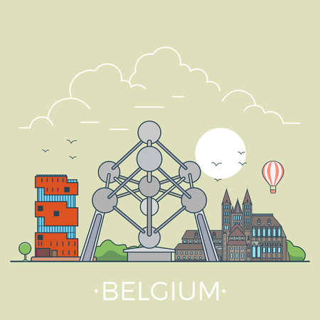 points of interest: Belgium country design template. Linear Flat famous historic sight; cartoon style web site vector illustration. World travel and showplace in Europe, European vacation collection.