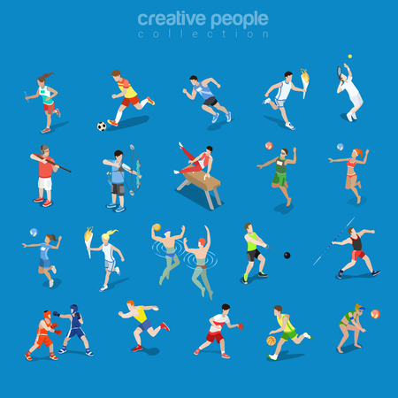 Flat isometric sportsmen in competitive scenes vector illustration set. Team and individual sports 3d isometry concept. Athlete, Swimmer, Tennis, Volleyball and Archery Players. Ilustração