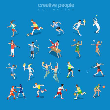 Vlakke isometrische sportmannen in de concurrerende reeks van de scènes vectorillustratie. Team en individuele sport 3d isometrie concept. Atleet, Zwemmer, Tennis, Volleybal en Boogschieten Spelers.