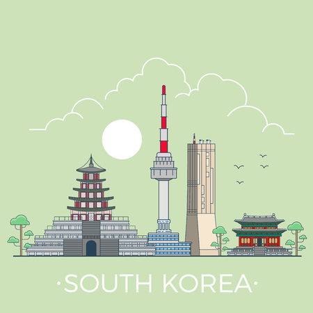 building site: South Koreacountry design template. Linear Flat famous historic sight; cartoon style web site vector illustration. World travel and showplace in Asia, Asian vacation collection.