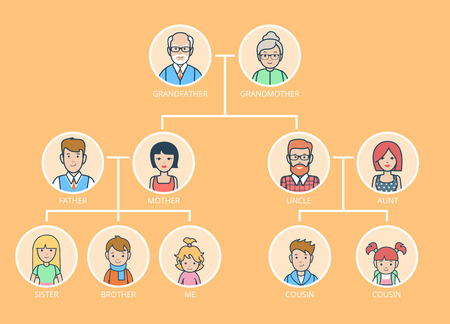 progeny: Linear Flat Family Tree infographics template vector illustration. Grandparents, parents, children connected with lines on yellow background. Genealogy concept.