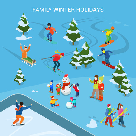 resorts: Flat Ski resort with snowy background, adult and children on sled, skiing, snowboard, skates, having fun making snowman vector illustration. Family Winter holidays, sports concept.