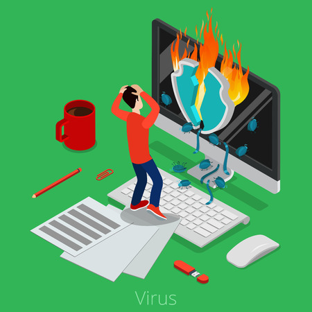 Flat isometric broken shield burning, virus bugs coming from monitor screen, user grabbing his head vector illustration. 3d isometry malware software concept.