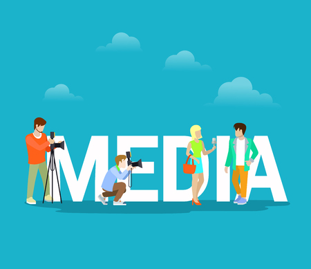 Flat Photographers shooting young couple, standing near big letters vector illustration. Cloudy background. Mass Media workers concept.