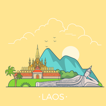 asia style: Laos country design template. Linear Flat famous historic sight; cartoon style web site vector illustration. World travel and showplaces in Asia. Asian vacation collection.
