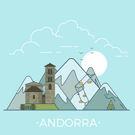 Andorra country design template. Linear Flat famous historic sight; cartoon style web site vector illustration. World travel and showplace in Europe, European vacation collection.