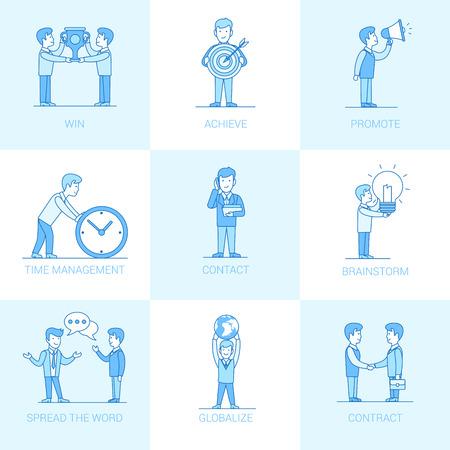 Lineaire Flat Mensen uit het bedrijfsleven en object situaties vector illustratie set. Zakelijke marketing promotie concept. Win, bereik, promoot, timemanagement, contact, handdruk, brainstorming, verspreid woord.