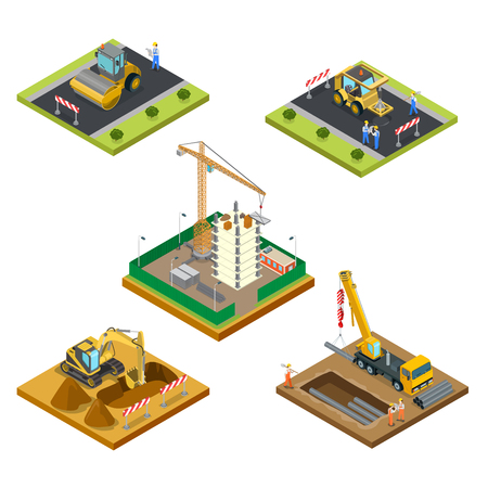Flat isometric male workers laying asphalt, pipes under the ground, building house vector illustration set. 3d isometry special machinery, city construction concept. 일러스트
