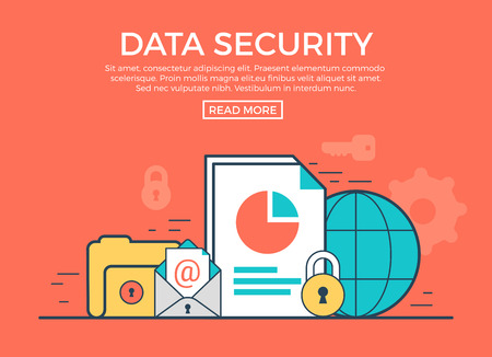 security technology: Linear flat Data Security infographics template and icons website hero image vector illustration. App programming technology and software concept. Red background.