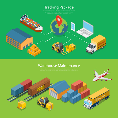 railway: Flat isometric Tracking Package and Warehouse Maintenance vector illustration set. 3d isometry Logistics and Transportation concept. Train carriage, Truck, Plane, Barge with cargo, Globe images.