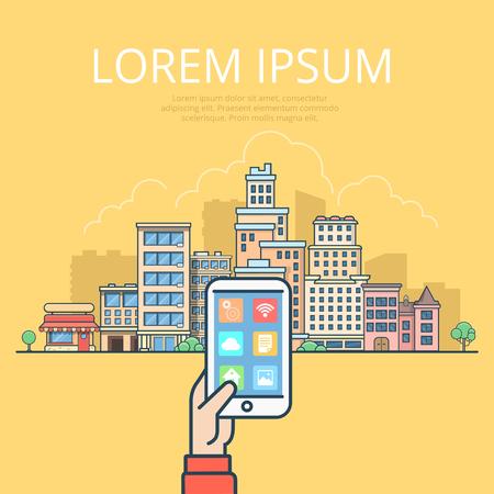Linear Flat male hands holding tablet or smartphone on Urban landscape vector illustration. Smart city concept.